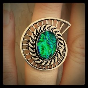 New Triplet Opal Silver Ring. Size 6.75